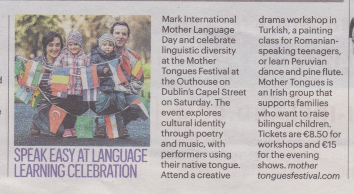 European Year of Cultural Heritage, Mother Tongues, Mother Tongues Dublin, multilingualism, rising bilingual children Dublin, bilingualism, Dublin